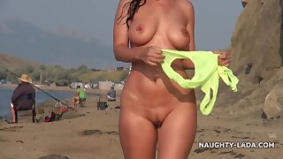 Naughty Russian bitch relating to Swimsuit on beach - chubby tits flashing outdoors