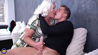 Granny blows with the addition of fucks young pervert boy