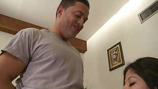Brunette with juicy tist sucks coupled with titty fucks a horny guy