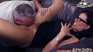 German Sex counselor teaches real mature team of two