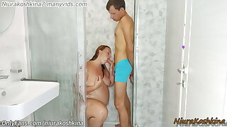 Clog up b mismanage My Pregnant stepsister In The Shower. Helping Her Wash
