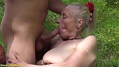 chunky 85 years old granny first time outdoor mating