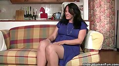 British granny works her pantyhosed old pussy