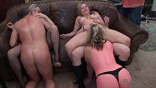Housewives having an orgy with cock sucking with the addition of pussy trample