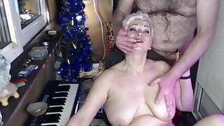 Milf webcam slut, big mature nipple torment, blowjob closeup