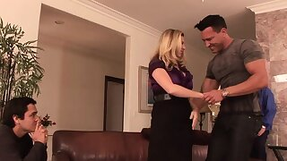 Tow-headed housewife takes it anally from porn stud