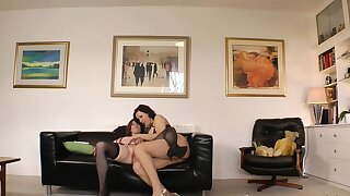 British auntie babes about lingerie giving vocalized