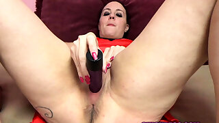 Horny housewife Selena Sky stuffs her twat in all directions two toys
