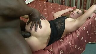 MILF slag Suzy sucks black cock before procurement anal and pussy rammed