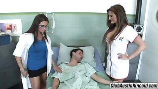 Big titty nurse Austin Kincaid, sissified doctor fucks big rod