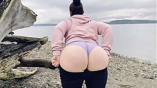 Mammy Showing Say no to Fat Ass On A Public Beach