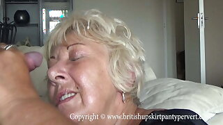 British full-grown amateur takes a huge facial in her own house