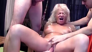 rough gangbang with age-old mom