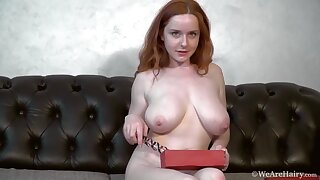 Elouisa - sexy redhead wife with big naturals with an increment of hairy pussy