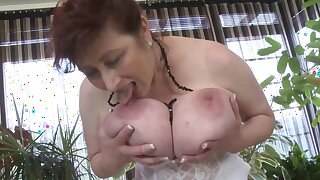 Sexy MILF Solo - euro mature in stockings & lingerie loves boob play